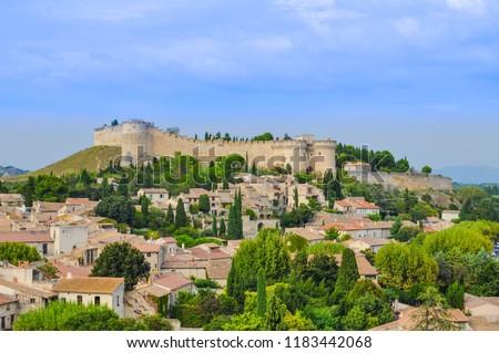 Fort Saint-André à Villeneuve-lez-Avignon Provence south of France a picturesque chateau overlooking the village under a big blue sky Stock fotó ©