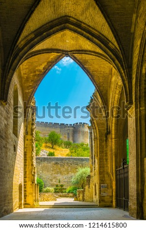 Fort Saint Andre viewed from the old carthusian monastery Chartreuse de Villeneuve lez Avignon, France Stock fotó ©