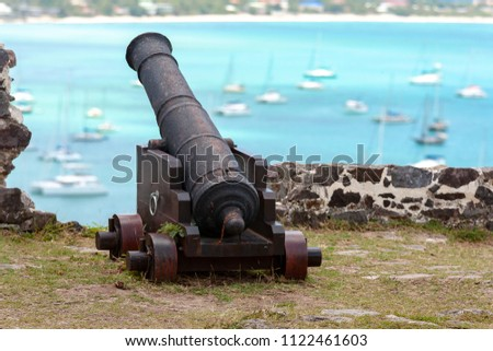 Fort Saint Louis the hill above the city of Marigot is a historic site and reminds the first settlers on the island of St. Martin, Caribbean area. Old rusty cannons are witnesses of ancient history.