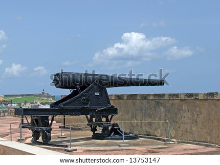 Fort San Crist?bal stands watch over Old San Juan on the Caribbean island of Puerto Rico. A large cannon faces the open sea to the north.