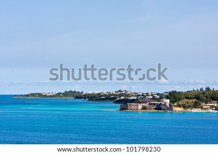 Fort St. Catherine in St. George's Bermuda viewed from the ocean. This fort was built in 1614.