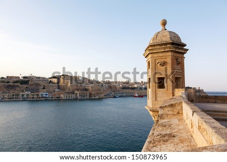 Fort St. Michael and panorama of Valletta and Malta Grand harbor - stock photo