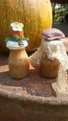 Fort Wayne, Indiana USA - September 09 2017: Decorative jars of apple sauce in corked jars from the Johnny Appleseed Festival.