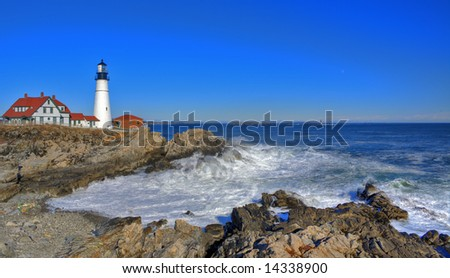 Fort Williams Lighthouse in late January - stock photo