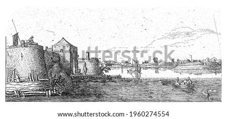 Fort with defenses of Tholen on the Scheldt, Esaias van de Velde, 1615 - 1616 Stockfoto ©
