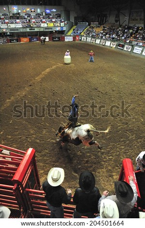 Fort Worth, Texas, USA, March. 24, 2012: Rodeo at Fort Worth Stockyards Historic District, former livestock market, now main tourist attraction in Fort Worth, TX