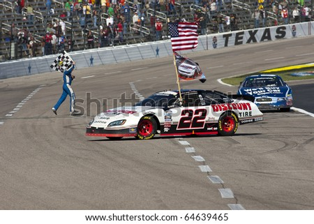FORT WORTH, TX - NOV 06:  Brad Keselowski clinches the Series title as Carl Edwards wins the O'Reilly Auto Parts Challenge race on NOV 6, 2010 at the Texas Motor Speedway in Fort Worth, TX.