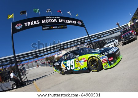 FORT WORTH, TX - NOV 05:  Carl Edwards brings his car back in the garage during for a practice session for the AAA Texas 500 race on Nov 5, 2010 at the Texas Motor Speedway in Fort Worth, TX.