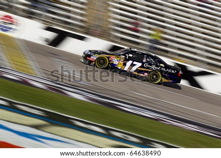 FORT WORTH, TX - NOV 06:  Matt Kenseth (17) brings his race car through the frontstretch during practice for the AAA Texas 500 race on NOV 6, 2010 at the Texas Motor Speedway in Fort Worth, TX.