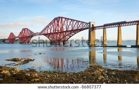 Forth railway bridge over the Firth of Forth near Edinburgh, Scotland