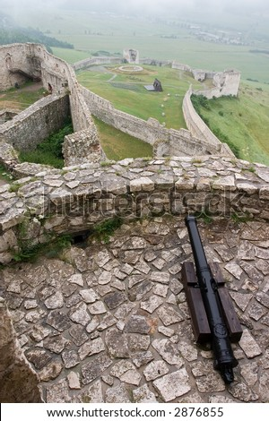 Fortification with cannon gun in medieval Spissky Hrad castle