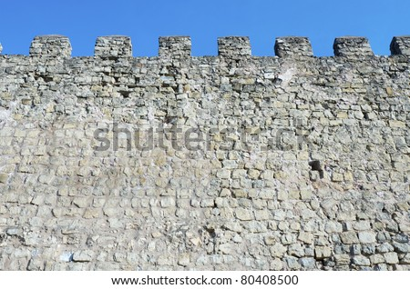 fortified castle  wall Siguenza, Guadalajara, Castilla La Mancha, spain