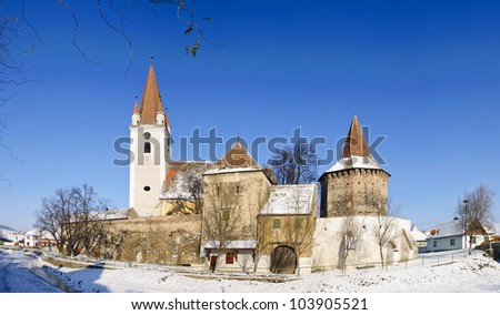 fortified church in cristian (grossau), transylvania, romania