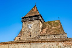 Fortified evangelical church of Axente Sever village in Sibiu county, Transylvania, Romania; Saxon fortified church of Transylvania