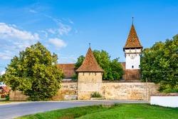 Fortified evangelical church of Cincsor village near Fagaras in Brasov county, Transylvania, Romania; Traditional saxon fortified church of Transylvania