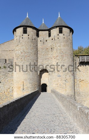 Fortified gate to the medieval town of Carcassonne, France