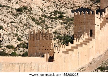 Fortified Walls Of Alcazaba - Old Moorish Castle On A Hill In Almeria, Andalu...