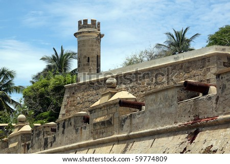 Fortress and palm trees on the coast in Pampatar