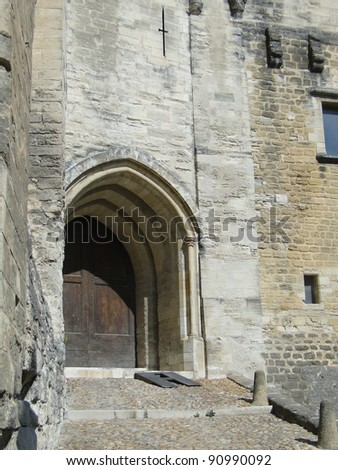 Fortress gate and walls, Palace of the Popes, Avignon, France