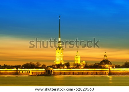 Fortress of St. Petersburg night landscape and a reflection in the river Neva