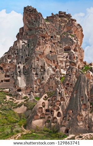 Fortress the Bunch in Cappadocia. The ancient building cut from the rock of a volcanic tufa.