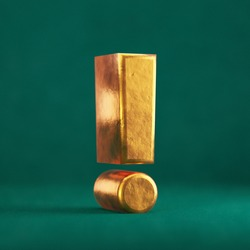 Fortuna Gold Exclamation Point on Tidewater Green background. Trend color font type symbol. 3d render.