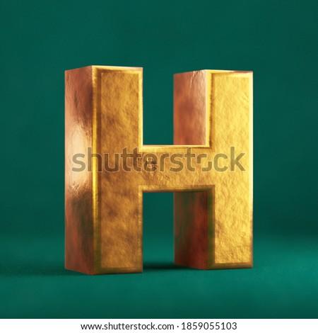 Fortuna Gold Letter H uppercase on Tidewater Green background. Trend color font type symbol. 3d render. Foto stock ©