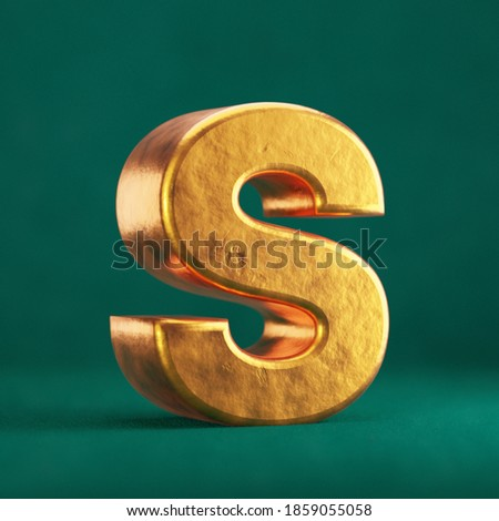 Fortuna Gold Letter S uppercase on Tidewater Green background. Trend color font type symbol. 3d render. Foto stock ©