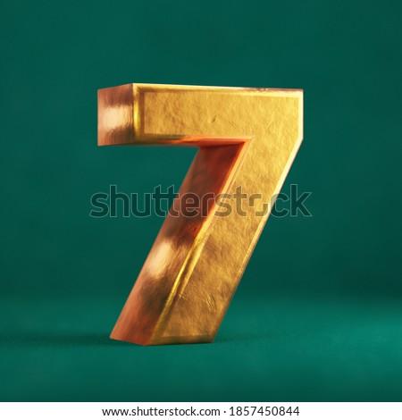 Fortuna Gold Number 7 on Tidewater Green background. Trend color font type symbol. 3d render. Zdjęcia stock ©