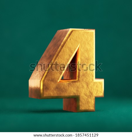 Fortuna Gold Number 4 on Tidewater Green background. Trend color font type symbol. 3d render. Foto stock ©