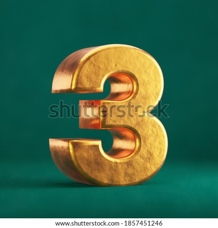 Fortuna Gold Number 3 on Tidewater Green background. Trend color font type symbol. 3d render. Foto stock ©