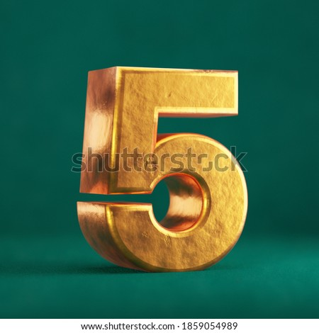 Fortuna Gold Number 5 on Tidewater Green background. Trend color font type symbol. 3d render. Zdjęcia stock ©