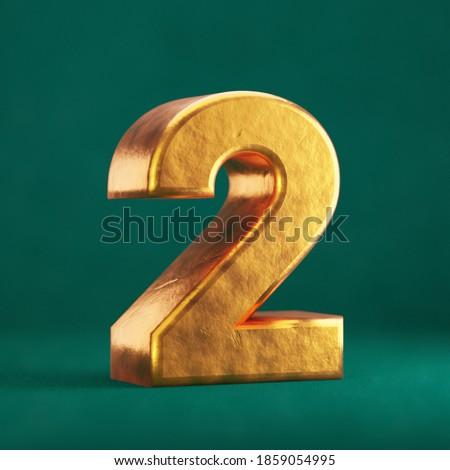Fortuna Gold Number 2 on Tidewater Green background. Trend color font type symbol. 3d render. Zdjęcia stock ©