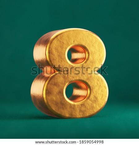 Fortuna Gold Number 8 on Tidewater Green background. Trend color font type symbol. 3d render. Foto stock ©