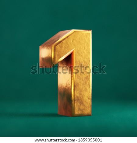 Fortuna Gold Number 1 on Tidewater Green background. Trend color font type symbol. 3d render. Zdjęcia stock ©