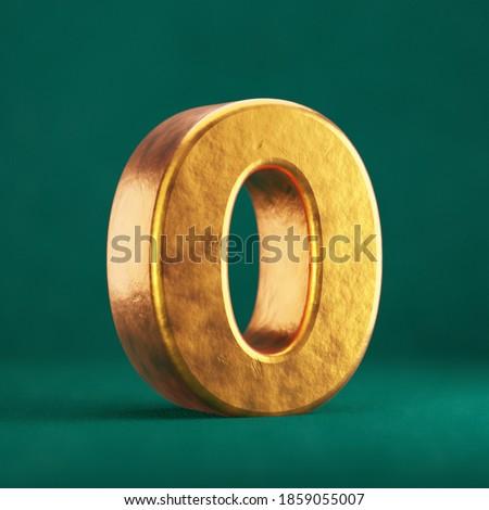 Fortuna Gold Number 0 on Tidewater Green background. Trend color font type symbol. 3d render. Zdjęcia stock ©