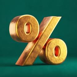 Fortuna Gold Percent on Tidewater Green background. Trend color font type symbol. 3d render.