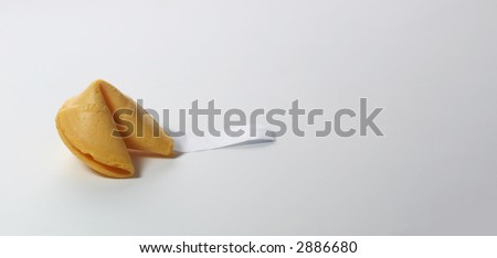 Fortune cookie on long horizontal.