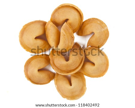 Fortune cookie with blank slip isolated on white background.