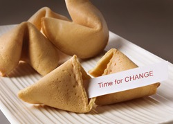 Fortune cookie with Time for change text