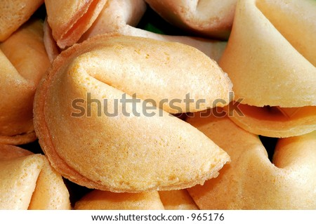 Fortune cookies close up