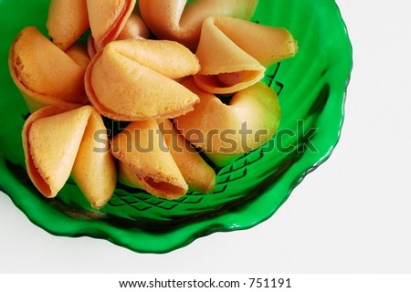 Fortune cookies in green bowl