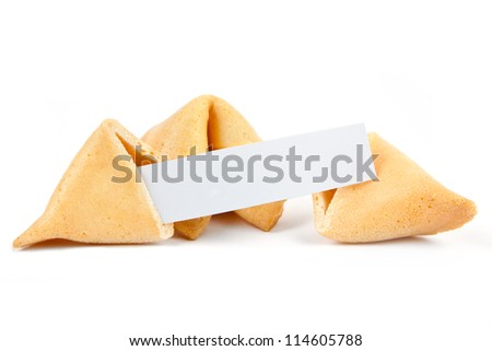 Fortune cookies with blank slip isolated on white background