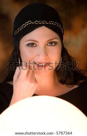 Fortune teller luring customers into her tent