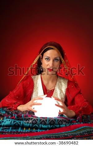 fortune-teller with shining crystal ball