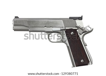 Forty five caliber handgun isolated on a white background with clipping path included.