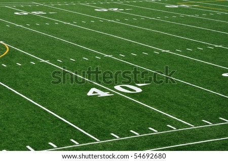 Forty Yard Line on American Football Field - stock photo