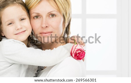 Forty years mother with her\ five years old  girl