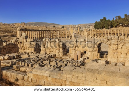 Forum in the ancient Roman city of Gerasa, Jerash, Jordan #555645481