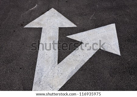 Forward and right signs on the road